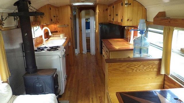 yellow bus mobile home main room